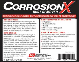 CorrosionX Rust Remover label image